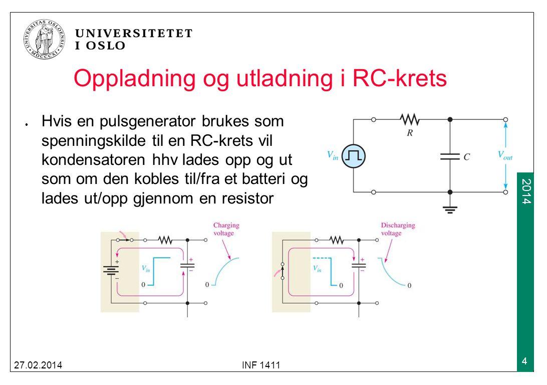 2009 2014 RC-integrator I en RC-integrator brukes spenningen over kondensatoren som utgangsspenning Etter τ = RC = 5 har kretsen (nesten) enten nådd 10v eller 0v, avhengig av utgangspunktet.
