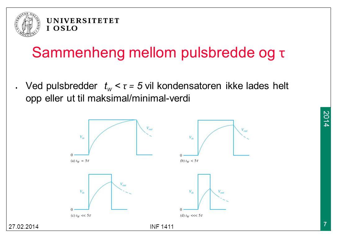 2009 2014 Respons på repeterende pulser Ved kortere pulsbredder t w < τ = 5 og input som er repeterende pulser: Kondensatoren trenger tid på å nå et nivå som er den gjennomsnittlige spenningen 27.02.2014INF 1411 8