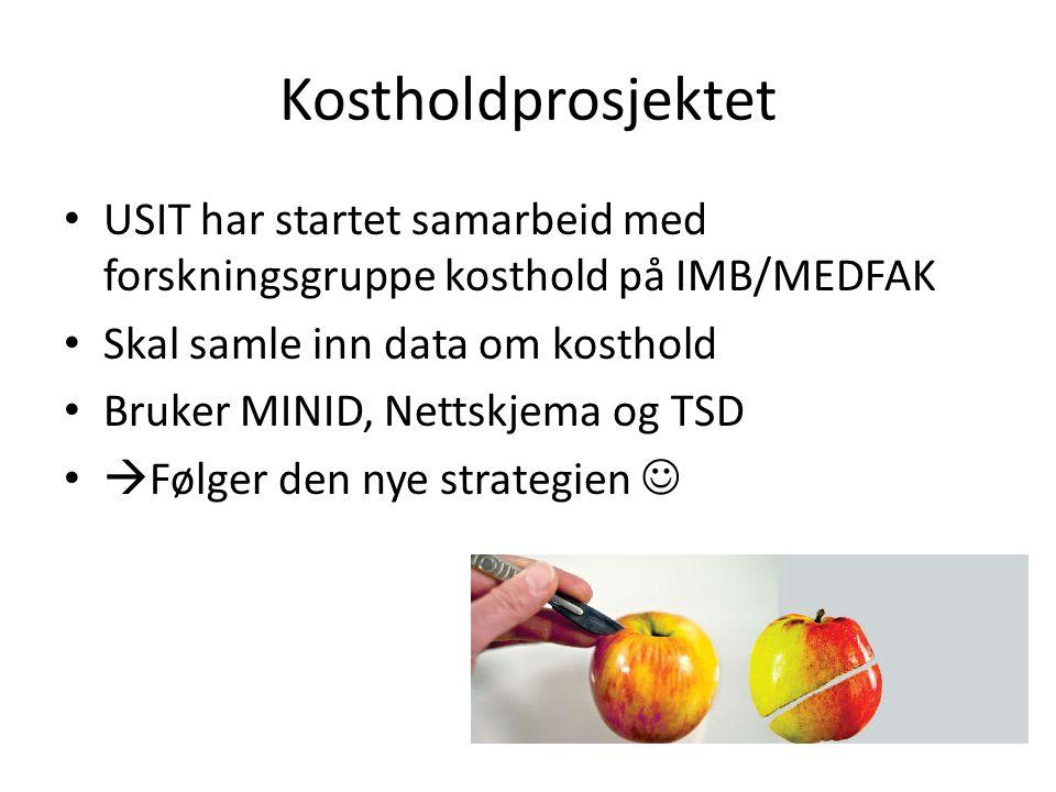 Kostholdprosjektet USIT har startet samarbeid med forskningsgruppe kosthold på IMB/MEDFAK Skal samle inn data om kosthold Bruker MINID, Nettskjema og TSD  Følger den nye strategien