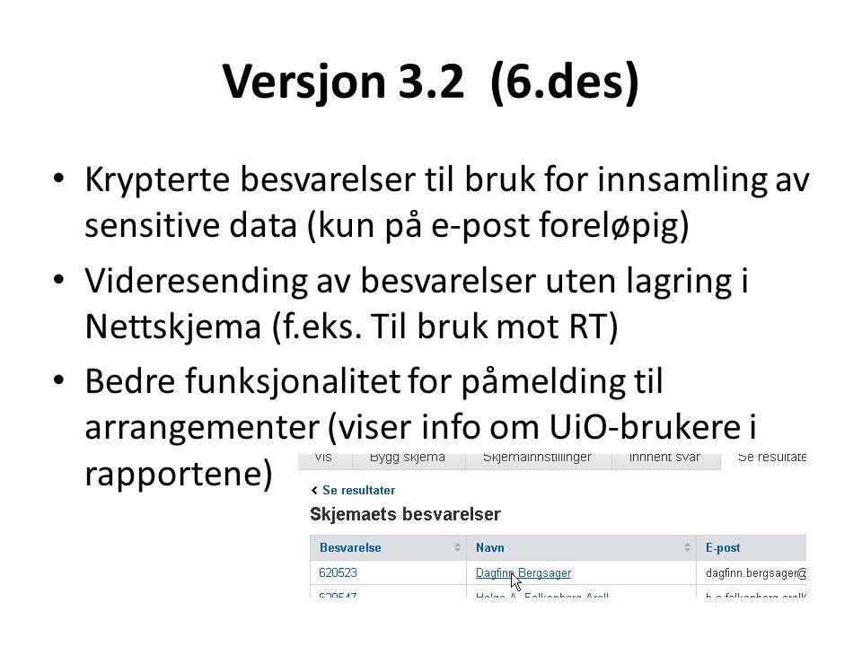 Versjon 3.2 (6.des) Krypterte besvarelser til bruk for innsamling av sensitive data (kun på e-post foreløpig) Videresending av besvarelser uten lagring i Nettskjema (f.eks.