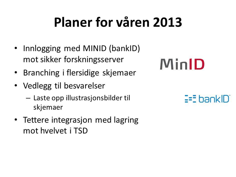 Planer for våren 2013 Innlogging med MINID (bankID) mot sikker forskningsserver Branching i flersidige skjemaer Vedlegg til besvarelser – Laste opp illustrasjonsbilder til skjemaer Tettere integrasjon med lagring mot hvelvet i TSD