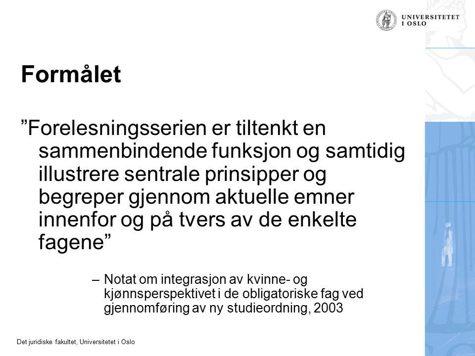 Det juridiske fakultet, Universitetet i Oslo Diskrimineringsrett som et nytt rettsområde i fremvekst Litteratur: Diskriminerings- og likestillingsrett , Hellum og Ketscher (red.) 2008 Valgfag: Diskriminerings- og likestillingsrett NOU 2009:14, Et helhetlig diskrimineringsvern –Foreslo én felles lov for alle typer diskriminering –(…blir neppe noe av) Tolking av diskrimineringsforbud: –Enhetlig.