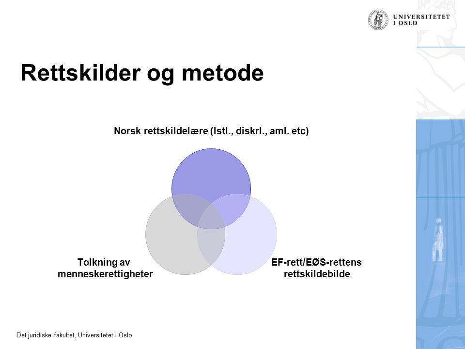 Det juridiske fakultet, Universitetet i Oslo Rettskilder og metode Norsk rettskildelære (lstl., diskrl., aml. etc) EF-rett/EØS-rettens rettskildebilde