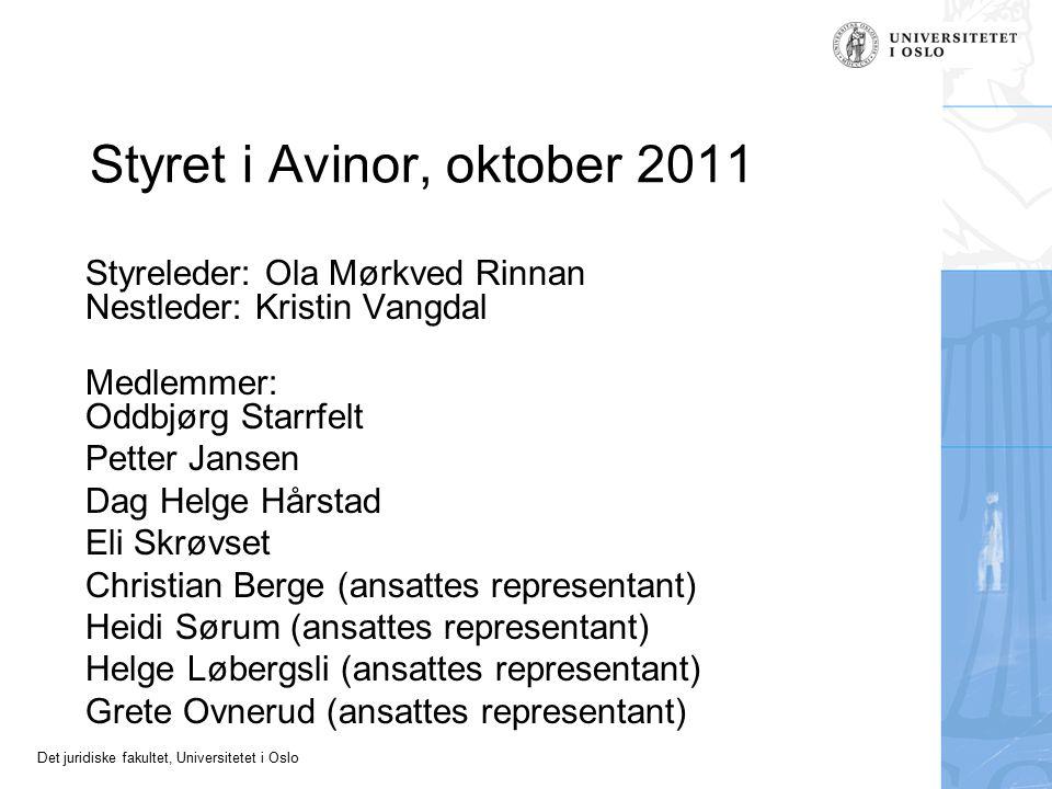 Det juridiske fakultet, Universitetet i Oslo Styret i Avinor, oktober 2011 Styreleder: Ola Mørkved Rinnan Nestleder: Kristin Vangdal Medlemmer: Oddbjø