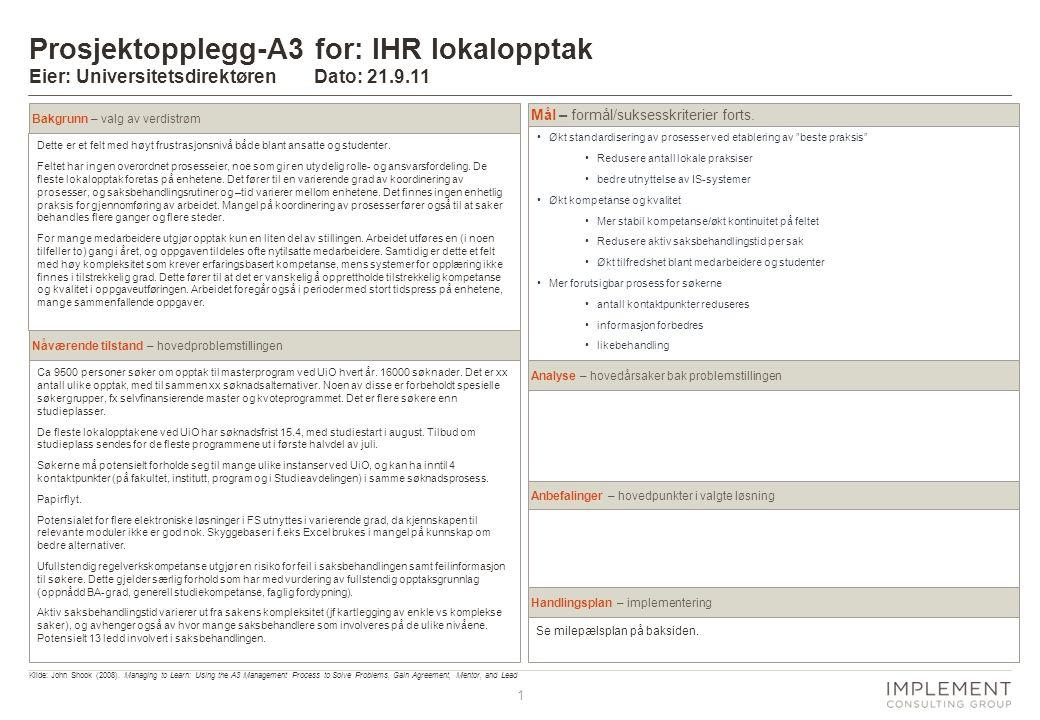 1 Prosjektopplegg-A3 for: IHR lokalopptak Eier: Universitetsdirektøren Dato: 21.9.11 Dette er et felt med høyt frustrasjonsnivå både blant ansatte og studenter.