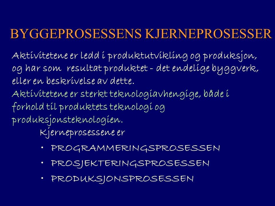 BYGGEPROSESSENS KJERNEPROSESSER PROGRAMMERINGSPROSESSEN PROSJEKTERINGSPROSESSEN PRODUKSJONSPROSESSEN Aktivitetene er ledd i produktutvikling og produk