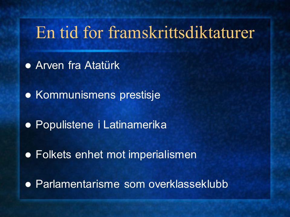 En tid for framskrittsdiktaturer Arven fra Atatürk Kommunismens prestisje Populistene i Latinamerika Folkets enhet mot imperialismen Parlamentarisme som overklasseklubb
