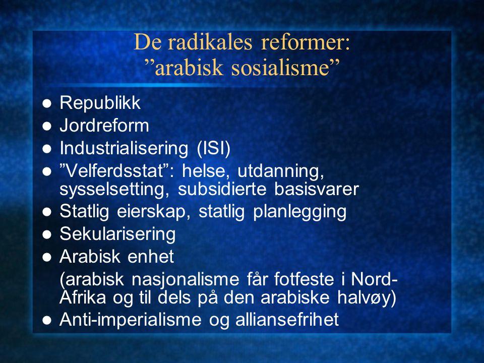 De radikales reformer: arabisk sosialisme Republikk Jordreform Industrialisering (ISI) Velferdsstat : helse, utdanning, sysselsetting, subsidierte basisvarer Statlig eierskap, statlig planlegging Sekularisering Arabisk enhet (arabisk nasjonalisme får fotfeste i Nord- Afrika og til dels på den arabiske halvøy) Anti-imperialisme og alliansefrihet