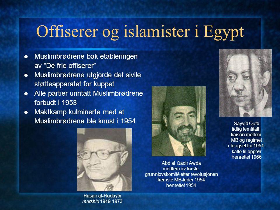 Offiserer og islamister i Egypt Muslimbrødrene bak etableringen av De frie offiserer Muslimbrødrene utgjorde det sivile støtteapparatet for kuppet Alle partier unntatt Muslimbrødrene forbudt i 1953 Maktkamp kulminerte med at Muslimbrødrene ble knust i 1954 Hasan al-Hudaybi murshid 1949-1973 Abd al-Qadir Awda medlem av første grunnlovskomité etter revolusjonen fremste MB-leder 1954 henrettet 1954 Sayyid Qutb tidlig femtitall: liaison mellom MB og regimet i fengsel fra 1954: kalte til opprør henrettet 1966