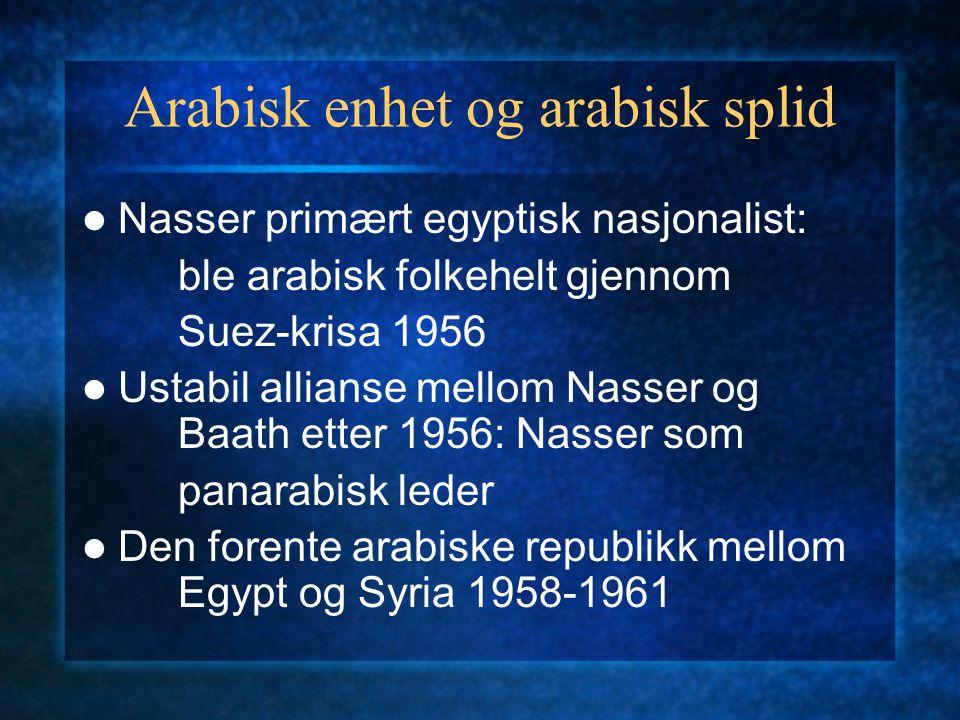 Arabisk enhet og arabisk splid Nasser primært egyptisk nasjonalist: ble arabisk folkehelt gjennom Suez-krisa 1956 Ustabil allianse mellom Nasser og Baath etter 1956: Nasser som panarabisk leder Den forente arabiske republikk mellom Egypt og Syria 1958-1961