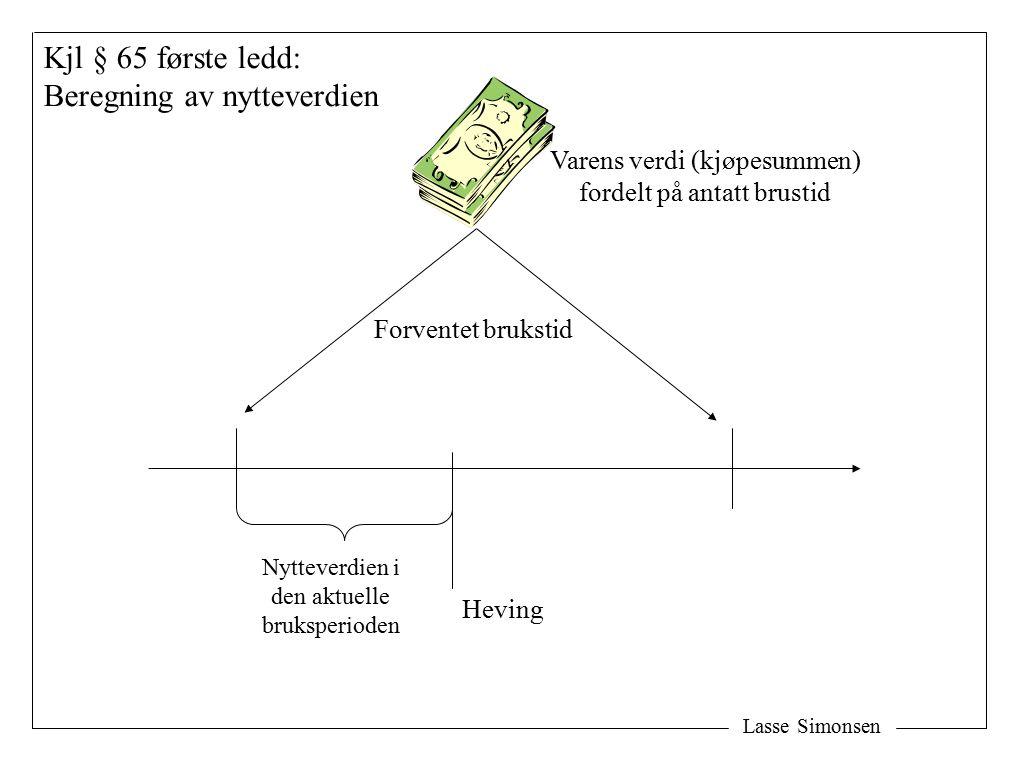 Lasse Simonsen Forventet brukstid Heving Nytteverdien i den aktuelle bruksperioden Kjl § 65 første ledd: Beregning av nytteverdien Varens verdi (kjøpesummen) fordelt på antatt brustid