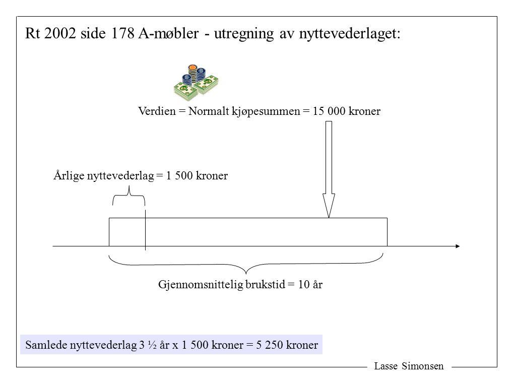 Lasse Simonsen Verdien = Normalt kjøpesummen = 15 000 kroner Rt 2002 side 178 A-møbler - utregning av nyttevederlaget: Gjennomsnittelig brukstid = 10
