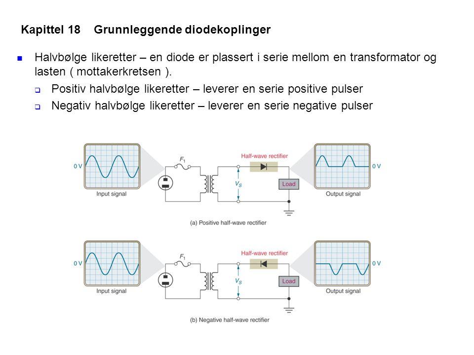 Halvbølge likeretter – en diode er plassert i serie mellom en transformator og lasten ( mottakerkretsen ).  Positiv halvbølge likeretter – leverer en