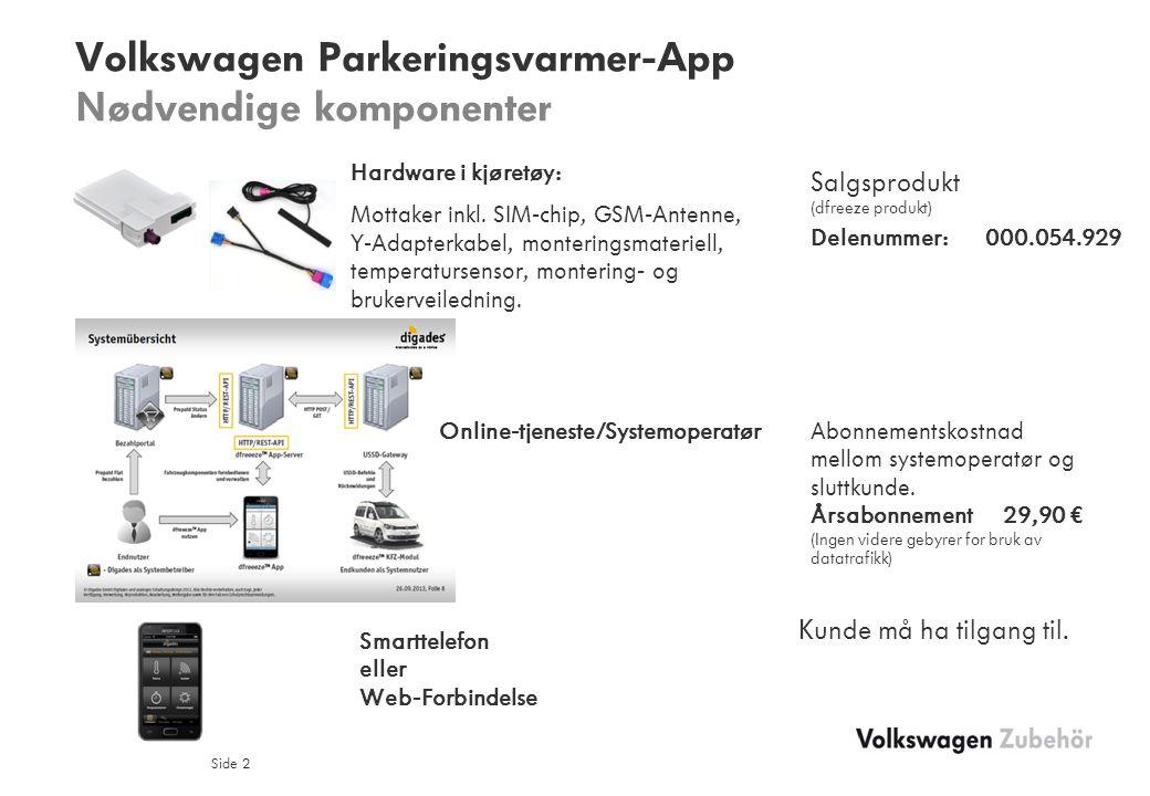 Volkswagen Parkeringsvarmer-App Nødvendige komponenter Side 2 Hardware i kjøretøy: Mottaker inkl.