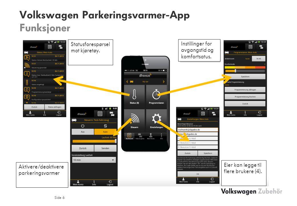 Volkswagen Parkeringsvarmer-App Funksjoner Side 6 Master kann berechtigte (4) Nutzer eintragen Statusforespørsel mot kjøretøy.