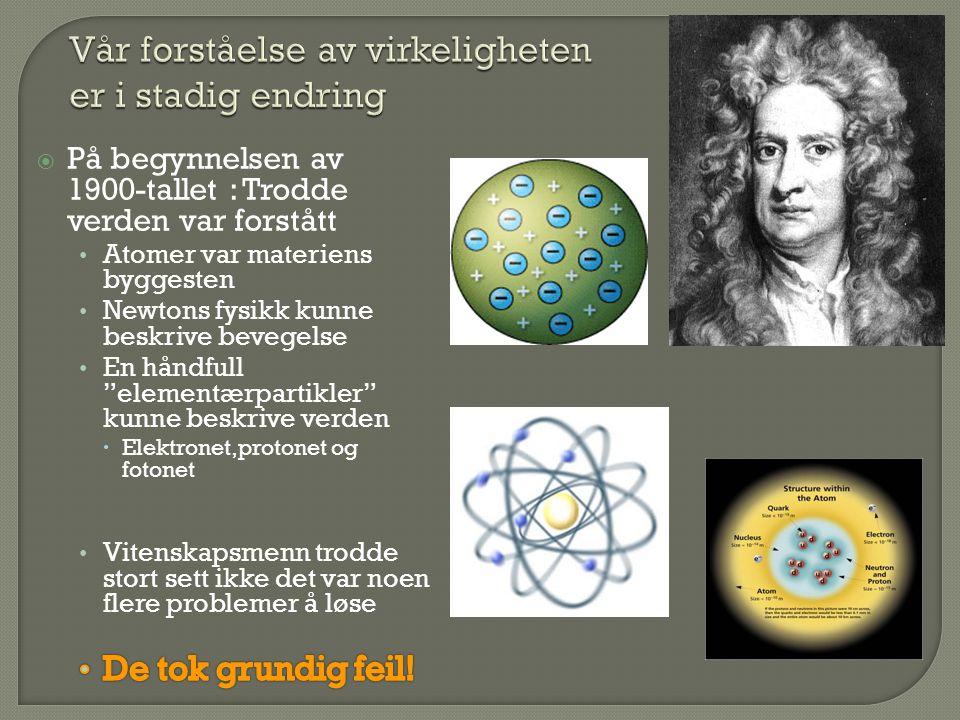  I løpet av 1900 tallet kom kvantefysikken og relativitetsteorien  I tillegg ble en hel rekke nye partikler oppdaget  Først ved kosmiske observasjoner  Deretter i nye partikkelakseleratorer  Så mange nye partikler var observert at behovet for å sette alt i system var enorm  Kvantefysikken og relativitetsteorien gjorde jobben!