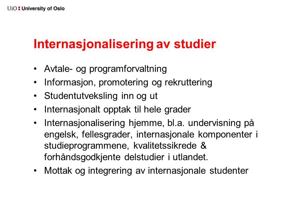 Internasjonalisering av studier Avtale- og programforvaltning Informasjon, promotering og rekruttering Studentutveksling inn og ut Internasjonalt opptak til hele grader Internasjonalisering hjemme, bl.a.