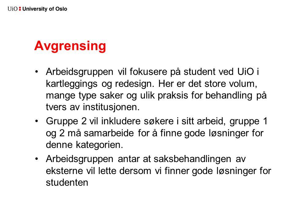 Avgrensing Arbeidsgruppen vil fokusere på student ved UiO i kartleggings og redesign.