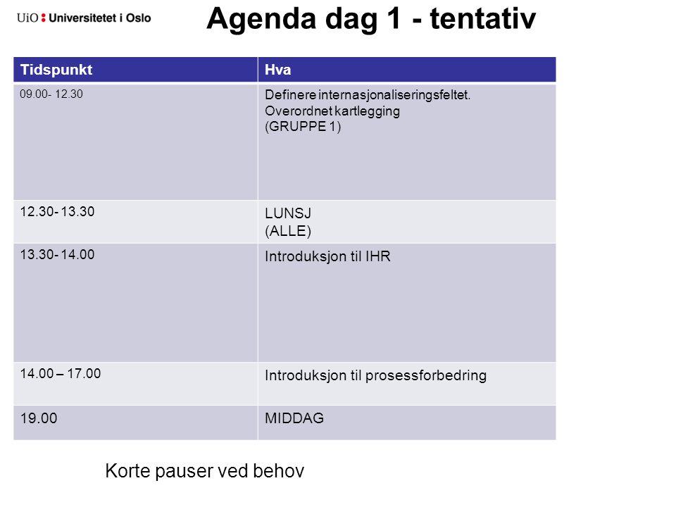 Agenda dag 1 - tentativ TidspunktHva 09.00- 12.30 Definere internasjonaliseringsfeltet. Overordnet kartlegging (GRUPPE 1) 12.30- 13.30 LUNSJ (ALLE) 13