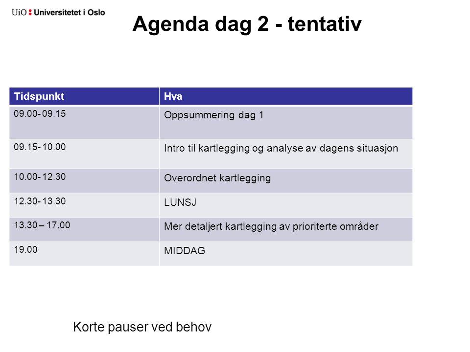Agenda dag 2 - tentativ TidspunktHva 09.00- 09.15 Oppsummering dag 1 09.15- 10.00 Intro til kartlegging og analyse av dagens situasjon 10.00- 12.30 Overordnet kartlegging 12.30- 13.30 LUNSJ 13.30 – 17.00 Mer detaljert kartlegging av prioriterte områder 19.00 MIDDAG Korte pauser ved behov