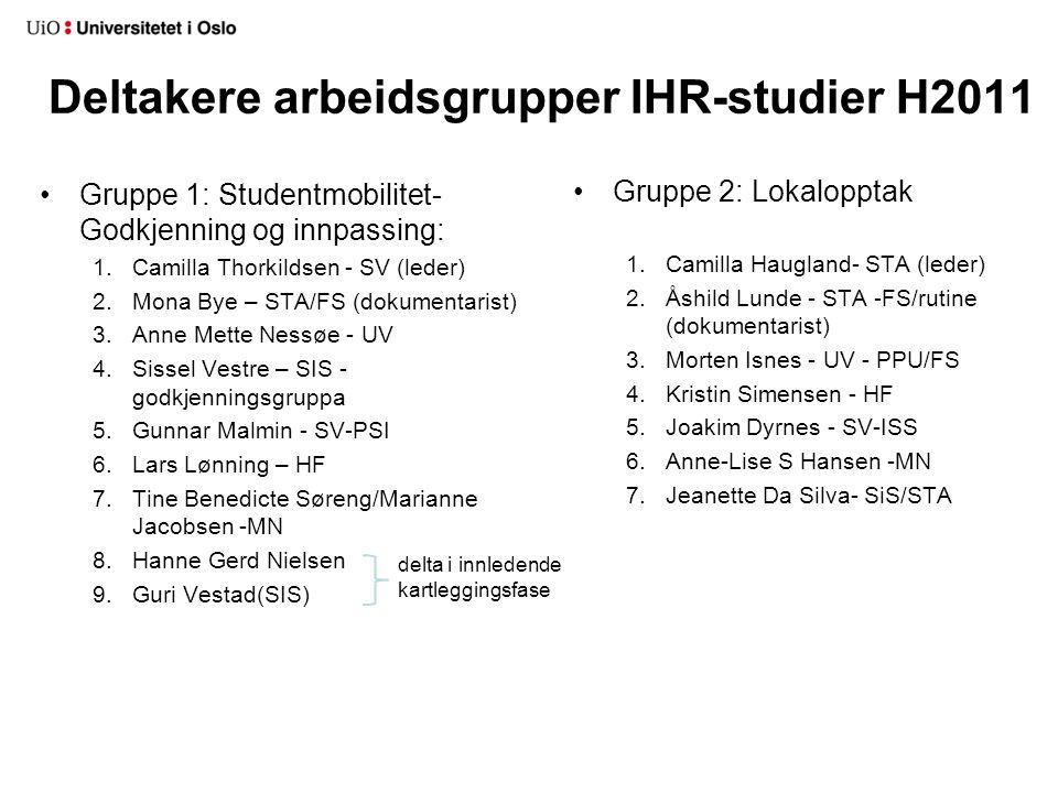 Deltakere arbeidsgrupper IHR-studier H2011 Gruppe 2: Lokalopptak 1.Camilla Haugland- STA (leder) 2.Åshild Lunde - STA -FS/rutine (dokumentarist) 3.Mor