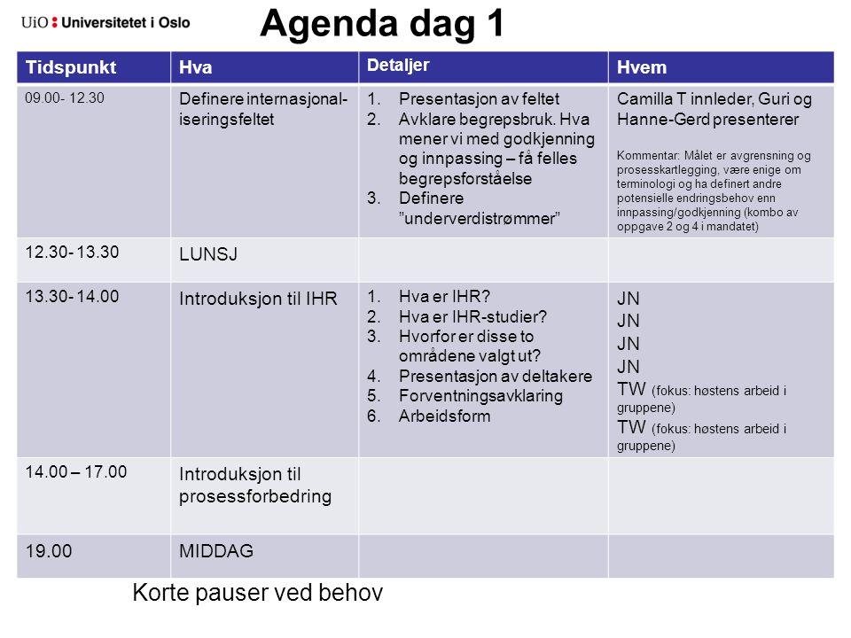 Agenda dag 2 TidspunktHva Detaljer Hvem 09.00- 09.15 Oppsummering dag 1 09.15- 10.00 Intro til kartlegging og analyse av dagens situasjon 10.00- 12.30 Overordnet kartleggingDefinere grenseflater mellom de prioriterte arbeidsområdene 12.30- 13.30 LUNSJ 13.30 – 17.00 Mer detaljert kartlegging av prioriterte områder I arbeidsgruppene (TW fasiliterer gruppe 1 og JN gruppe 2) Anne M og Mona dokumenterer gruppe 1, Gry A gruppe 2) 19.00 MIDDAG Korte pauser ved behov
