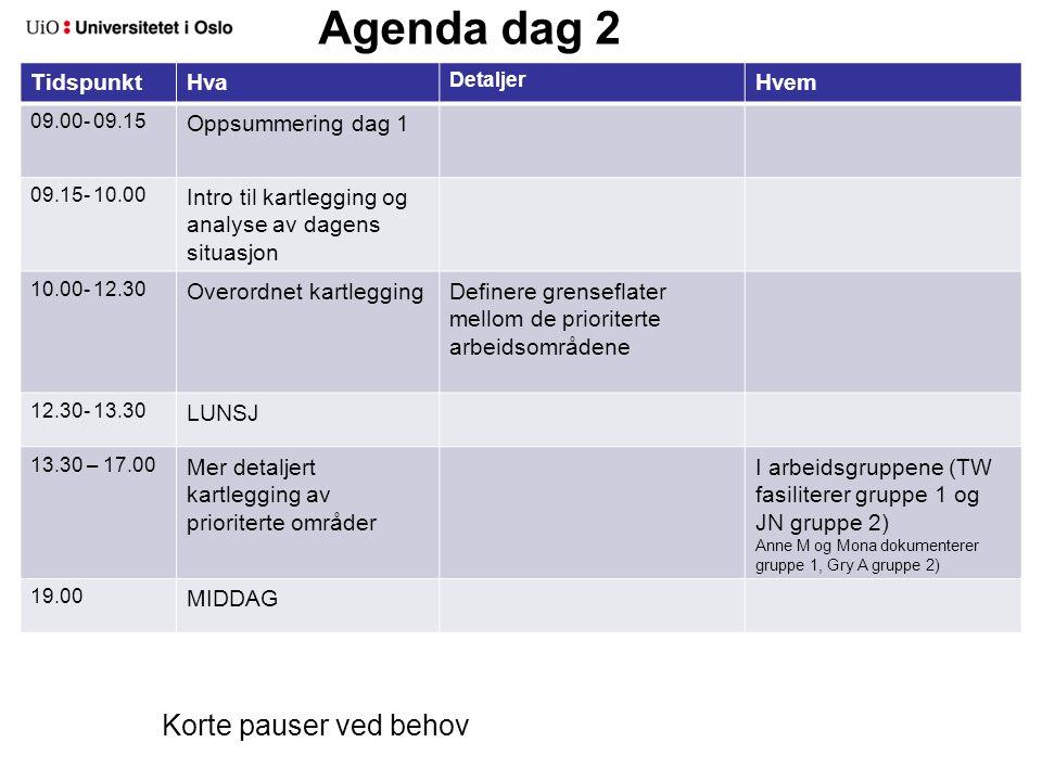 Agenda dag 2 TidspunktHva Detaljer Hvem 09.00- 09.15 Oppsummering dag 1 09.15- 10.00 Intro til kartlegging og analyse av dagens situasjon 10.00- 12.30