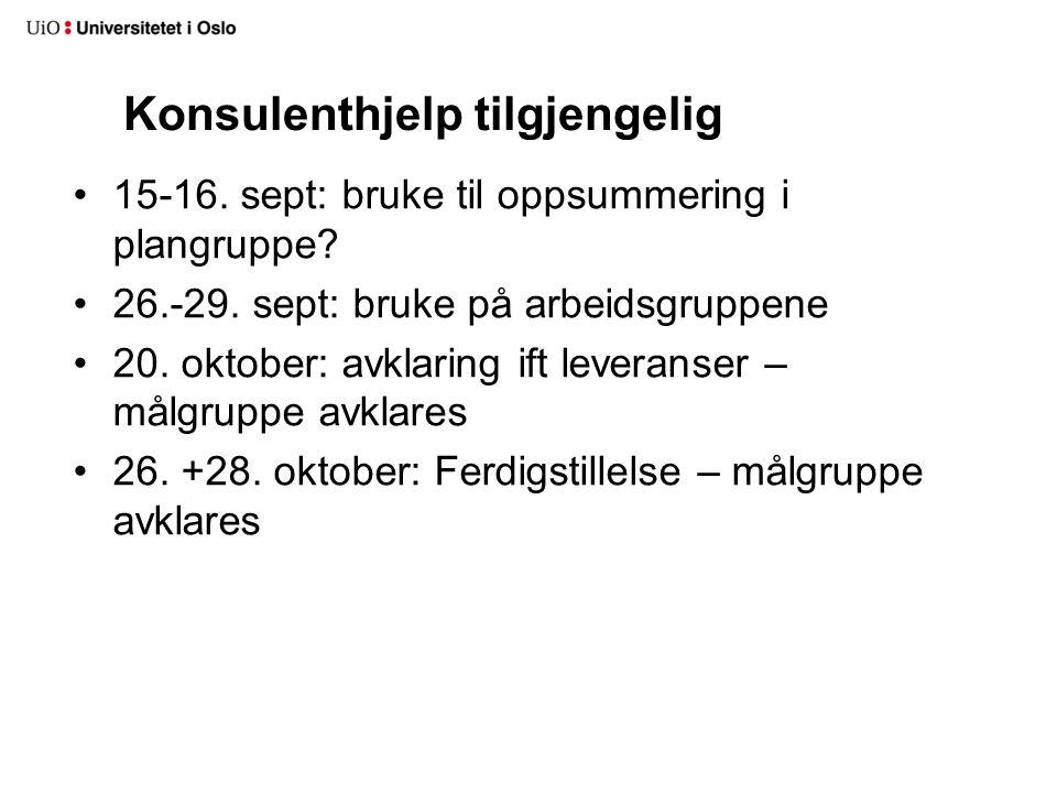 Konsulenthjelp tilgjengelig 15-16. sept: bruke til oppsummering i plangruppe? 26.-29. sept: bruke på arbeidsgruppene 20. oktober: avklaring ift levera