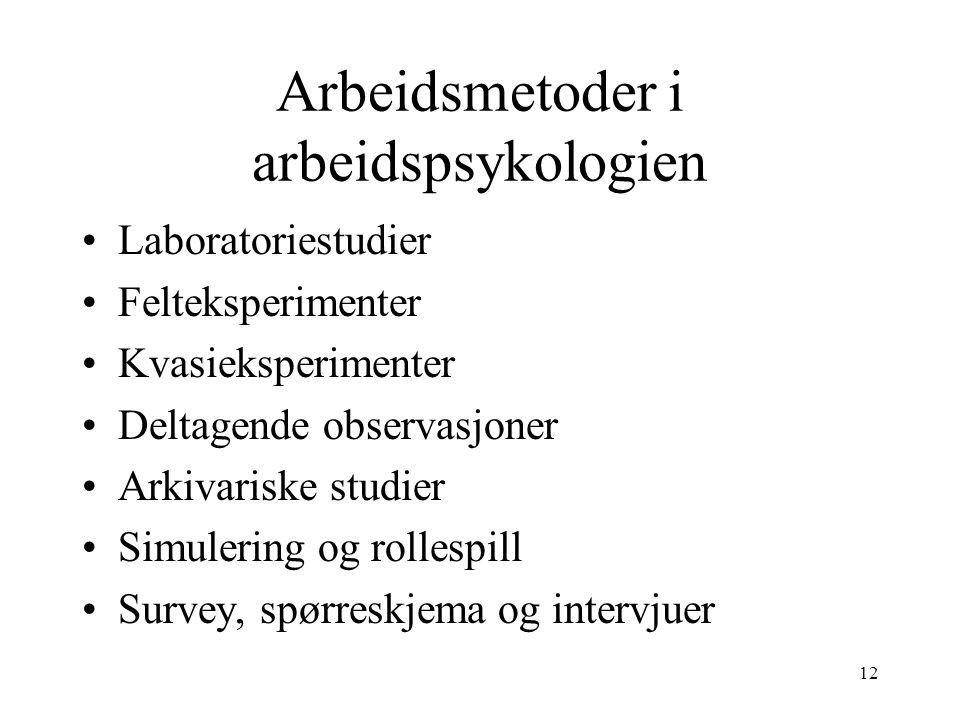 12 Arbeidsmetoder i arbeidspsykologien Laboratoriestudier Felteksperimenter Kvasieksperimenter Deltagende observasjoner Arkivariske studier Simulering og rollespill Survey, spørreskjema og intervjuer