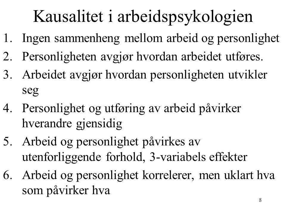 8 Kausalitet i arbeidspsykologien 1.Ingen sammenheng mellom arbeid og personlighet 2.Personligheten avgjør hvordan arbeidet utføres.