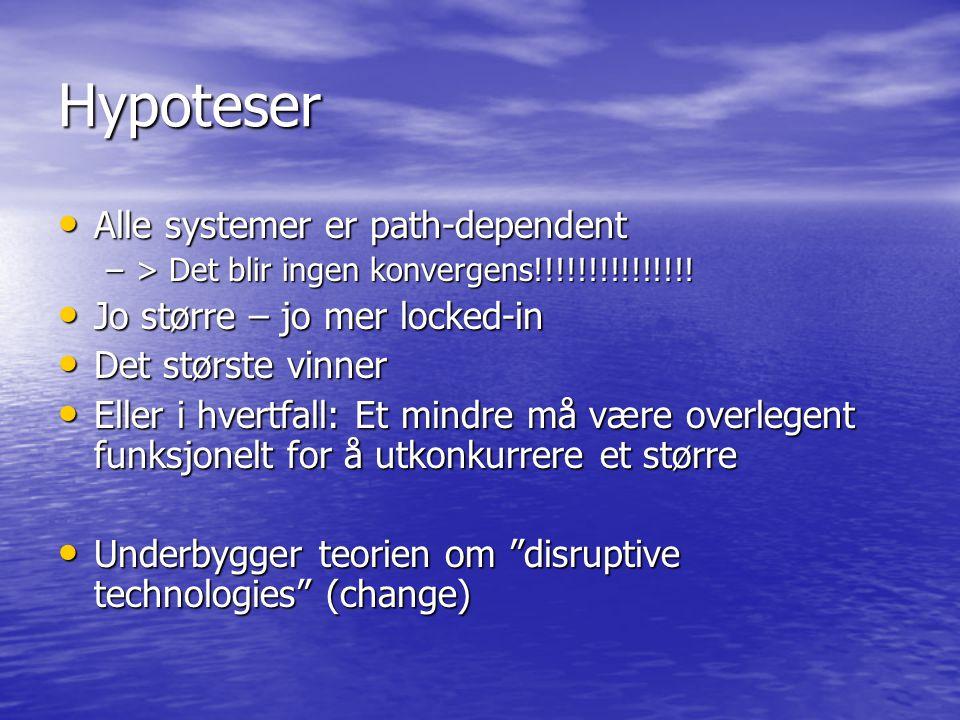 Hypoteser Alle systemer er path-dependent Alle systemer er path-dependent –> Det blir ingen konvergens!!!!!!!!!!!!!!! Jo større – jo mer locked-in Jo