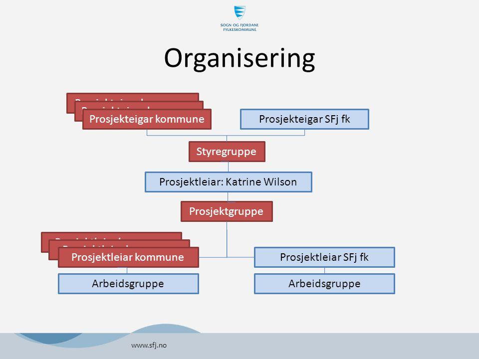 Organisering www.sfj.no Prosjekteigar kommune Styregruppe Prosjektleiar: Katrine Wilson Prosjektgruppe Prosjektleiar SFj fk Prosjekteigar SFj fk Prosjektleiar kommune Arbeidsgruppe