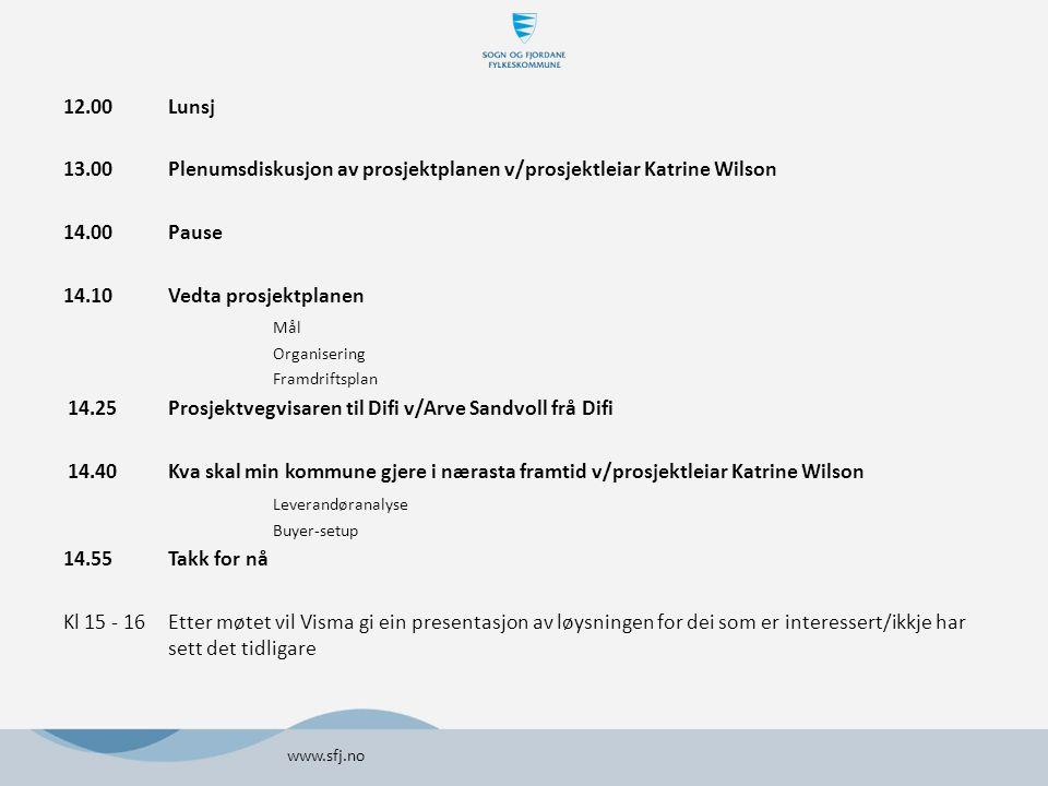 12.00Lunsj 13.00 Plenumsdiskusjon av prosjektplanen v/prosjektleiar Katrine Wilson 14.00 Pause 14.10Vedta prosjektplanen Mål Organisering Framdriftsplan 14.25Prosjektvegvisaren til Difi v/Arve Sandvoll frå Difi 14.40Kva skal min kommune gjere i nærasta framtid v/prosjektleiar Katrine Wilson Leverandøranalyse Buyer-setup 14.55 Takk for nå Kl 15 - 16Etter møtet vil Visma gi ein presentasjon av løysningen for dei som er interessert/ikkje har sett det tidligare www.sfj.no