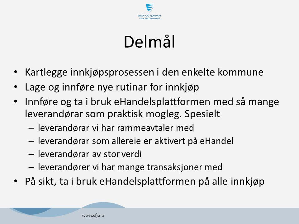 Innkjøpsanalyse SFFI - rammeavtalar Avtalekommunar og ordresum for 2012 Leverandørar allereie på eHandelsplattformen www.sfj.no