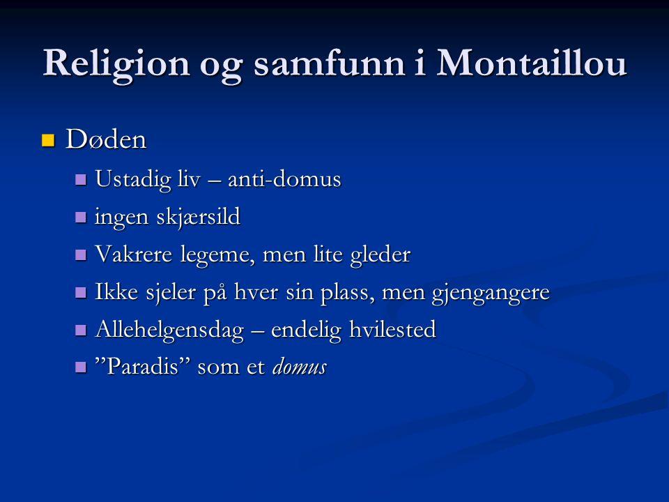 Religion og samfunn i Montaillou Døden Døden Ustadig liv – anti-domus Ustadig liv – anti-domus ingen skjærsild ingen skjærsild Vakrere legeme, men lit