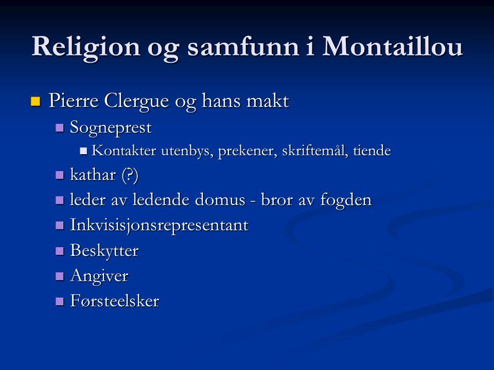 Religion og samfunn i Montaillou Pierre Clergue og hans makt Pierre Clergue og hans makt Sogneprest Sogneprest Kontakter utenbys, prekener, skriftemål