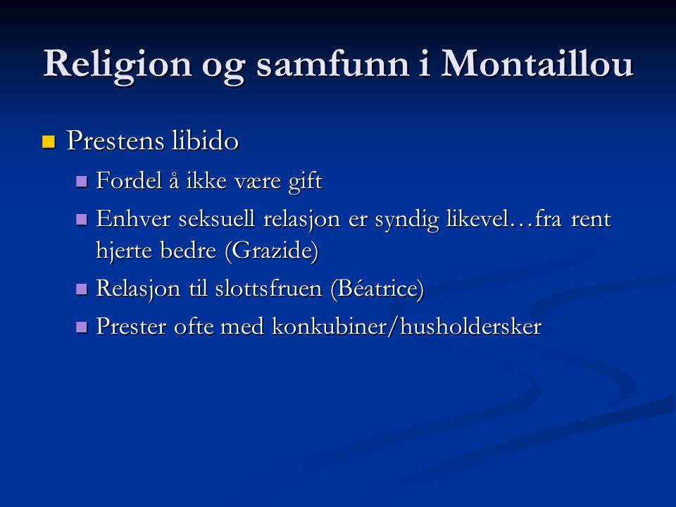 Religion og samfunn i Montaillou Prestens libido Prestens libido Fordel å ikke være gift Fordel å ikke være gift Enhver seksuell relasjon er syndig li