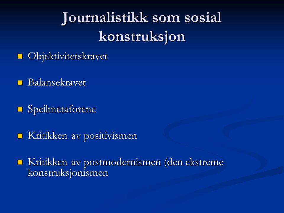 Journalistikk som sosial konstruksjon Objektivitetskravet Objektivitetskravet Balansekravet Balansekravet Speilmetaforene Speilmetaforene Kritikken av positivismen Kritikken av positivismen Kritikken av postmodernismen (den ekstreme konstruksjonismen Kritikken av postmodernismen (den ekstreme konstruksjonismen