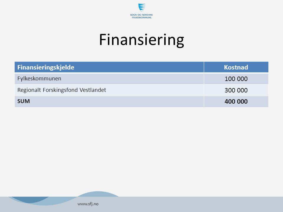 Finansiering www.sfj.no FinansieringskjeldeKostnad Fylkeskommunen 100 000 Regionalt Forskingsfond Vestlandet 300 000 SUM 400 000