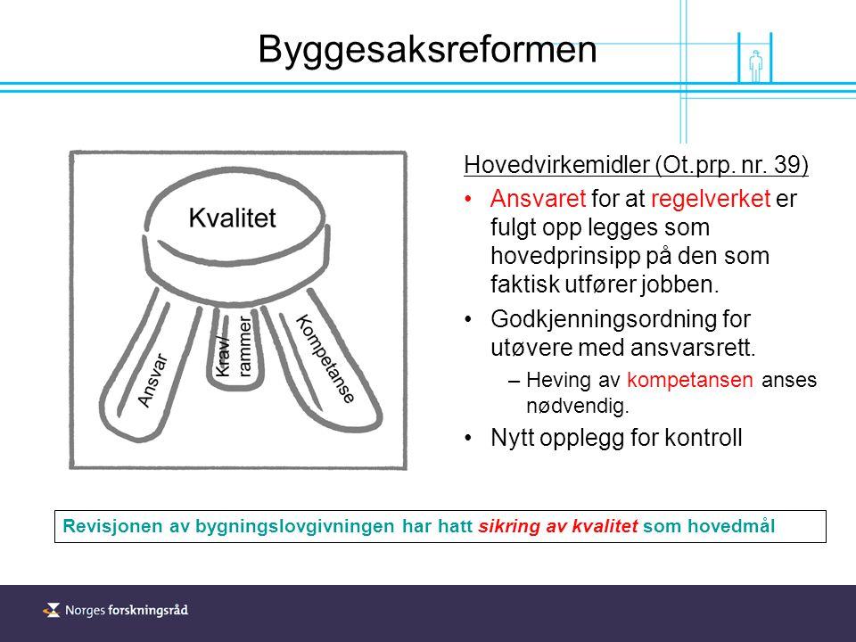 Byggesaksreformen Hovedvirkemidler (Ot.prp. nr.