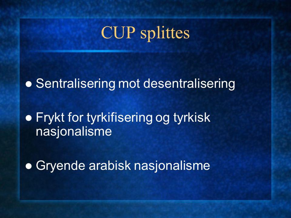 CUP splittes Sentralisering mot desentralisering Frykt for tyrkifisering og tyrkisk nasjonalisme Gryende arabisk nasjonalisme