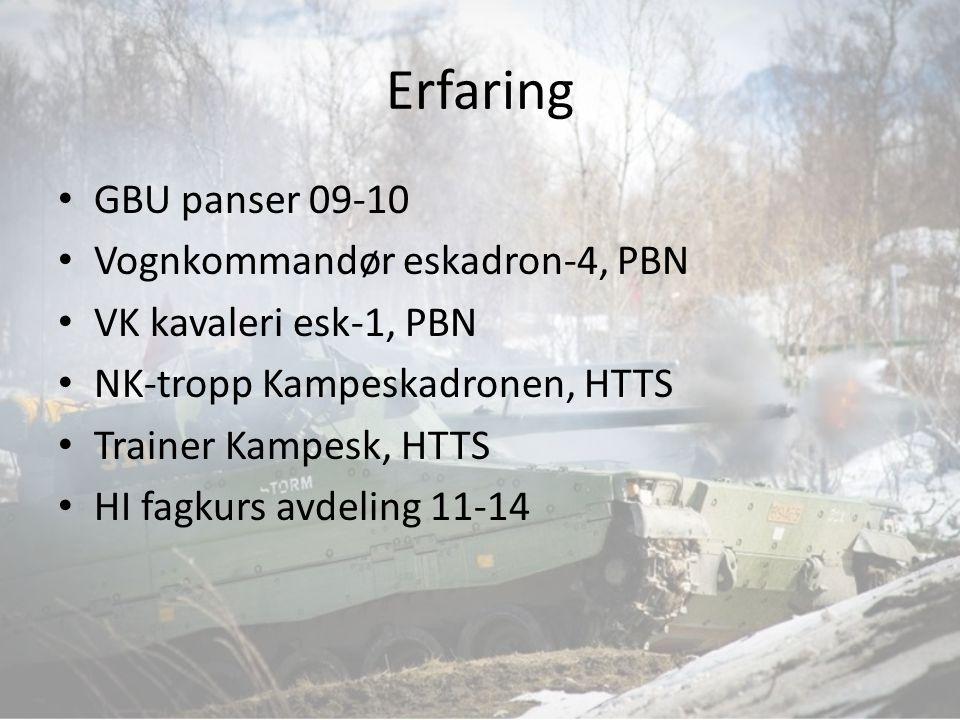 Erfaring GBU panser 09-10 Vognkommandør eskadron-4, PBN VK kavaleri esk-1, PBN NK-tropp Kampeskadronen, HTTS Trainer Kampesk, HTTS HI fagkurs avdeling