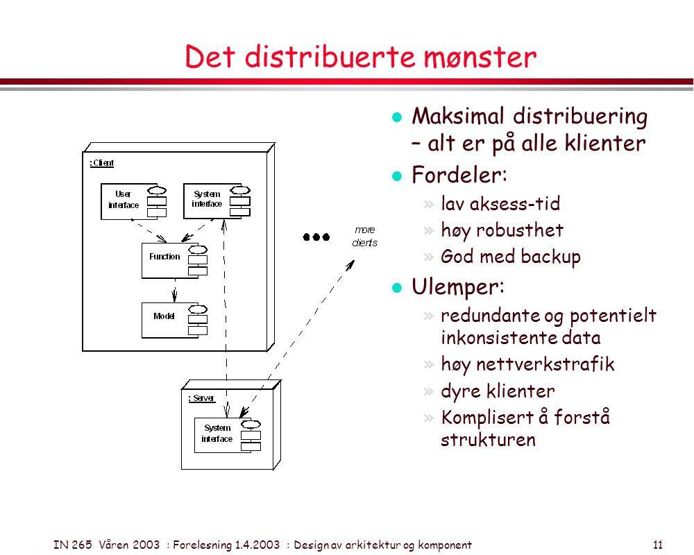 IN 265 Våren 2003 : Forelesning 1.4.2003 : Design av arkitektur og komponent 11 Det distribuerte mønster l Maksimal distribuering – alt er på alle kli