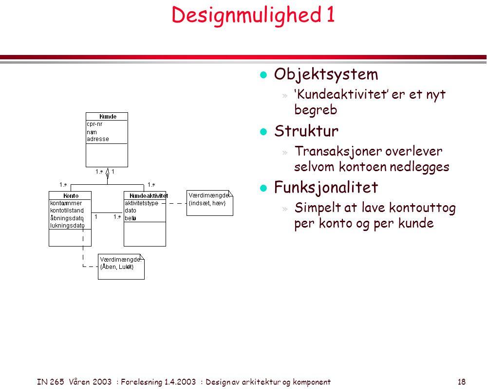 IN 265 Våren 2003 : Forelesning 1.4.2003 : Design av arkitektur og komponent 18 Designmulighed 1 l Objektsystem » 'Kundeaktivitet' er et nyt begreb l