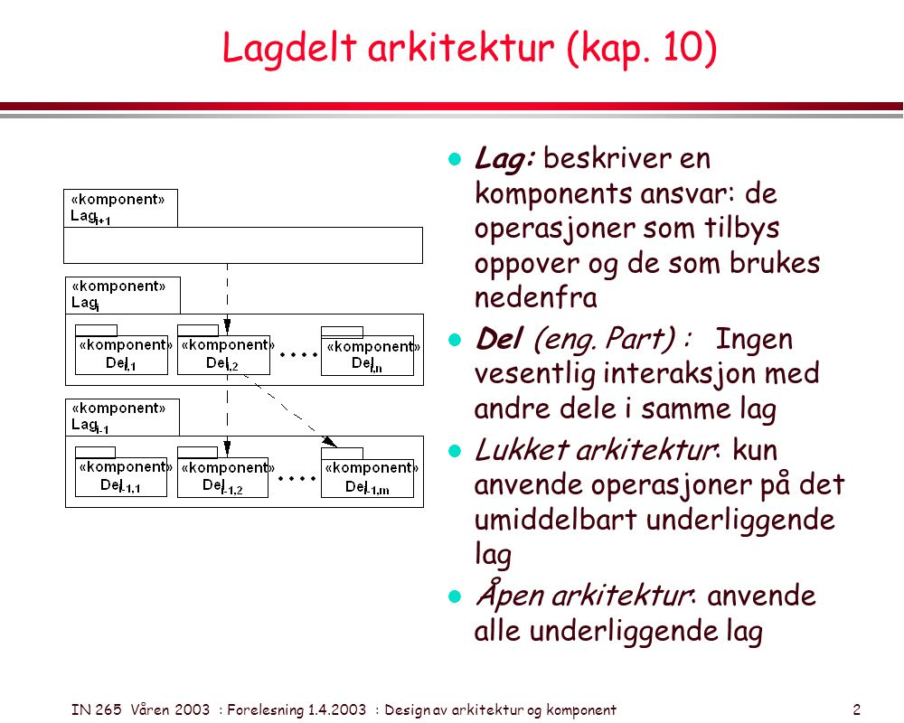 IN 265 Våren 2003 : Forelesning 1.4.2003 : Design av arkitektur og komponent 2 Lagdelt arkitektur (kap. 10) l Lag: beskriver en komponents ansvar: de