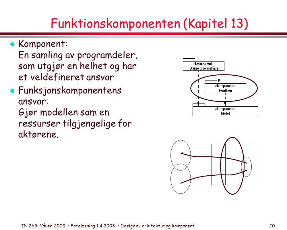 IN 265 Våren 2003 : Forelesning 1.4.2003 : Design av arkitektur og komponent 20 Funktionskomponenten (Kapitel 13) l Komponent: En samling av programde