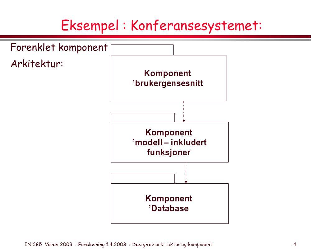 IN 265 Våren 2003 : Forelesning 1.4.2003 : Design av arkitektur og komponent 5 Eksempel: Klient-server arkitektur Nettverk Prinsipp: Forsøk å optimere utnyttelse av klientenes ressurser og nettverkets kapasitet