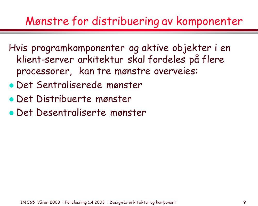IN 265 Våren 2003 : Forelesning 1.4.2003 : Design av arkitektur og komponent 9 Mønstre for distribuering av komponenter Hvis programkomponenter og akt
