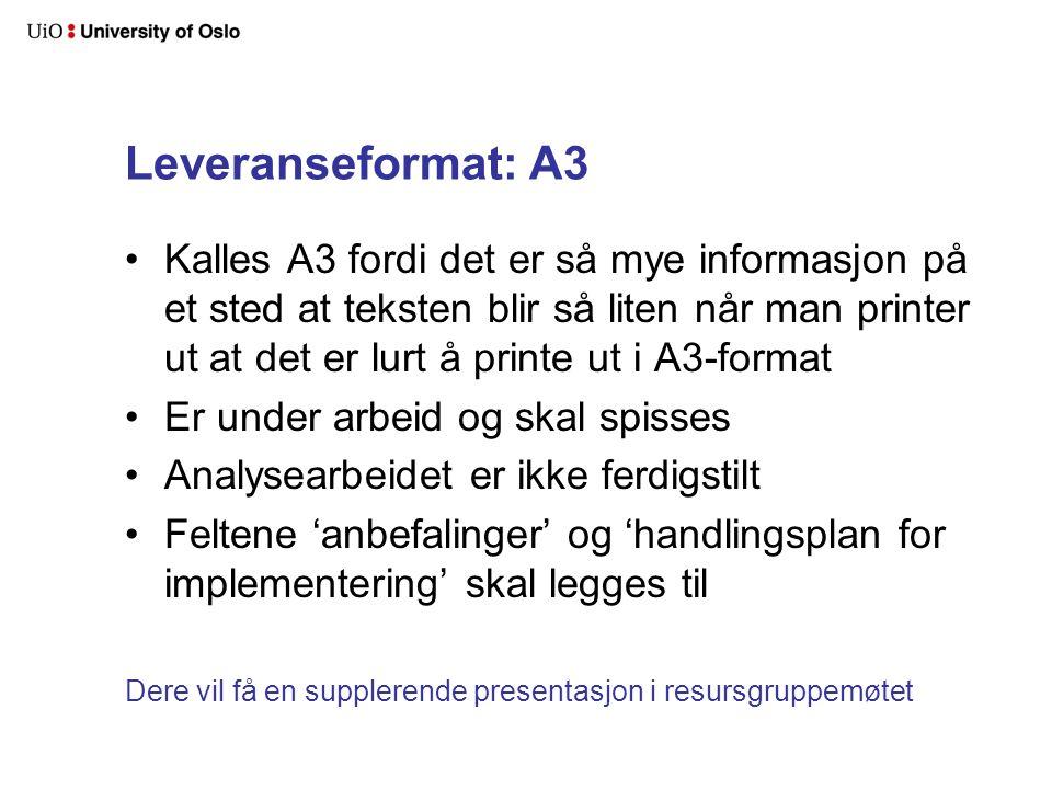Leveranseformat: A3 Kalles A3 fordi det er så mye informasjon på et sted at teksten blir så liten når man printer ut at det er lurt å printe ut i A3-f