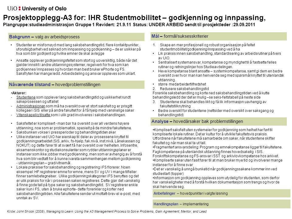Prosjektopplegg-A3 for: IHR Studentmobilitet – godkjenning og innpassing, Plangruppe:studieadministrasjon Gruppe 1 Revidert: 21.9.11 Status: UNDER ARB